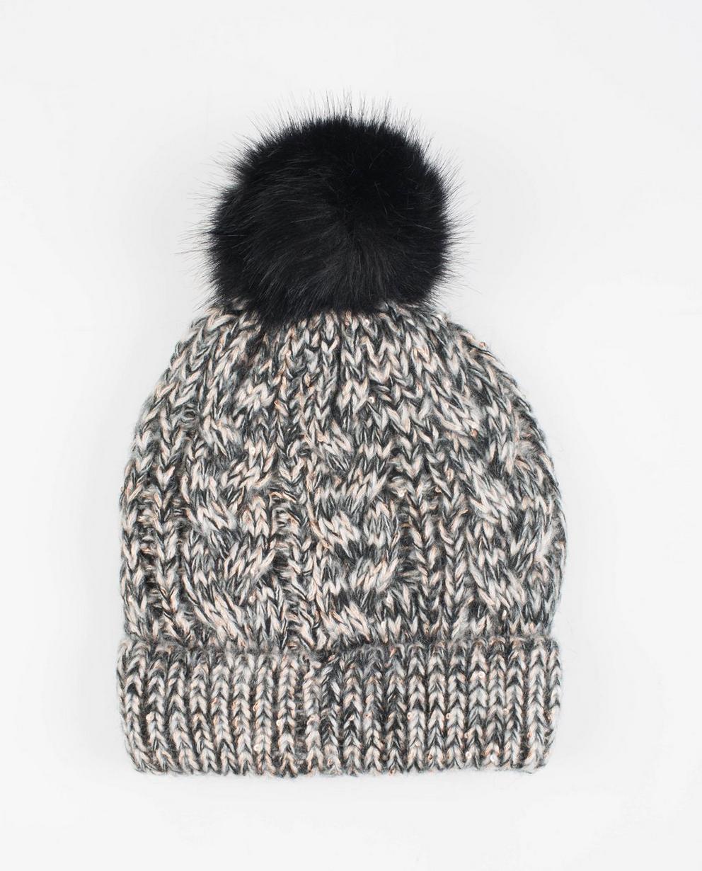 Bonnet tricoté  - avec un pompon, noir et blanc - JBC